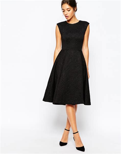 Skirted Dresses ted baker harmel jacquard skirt midi dress in black