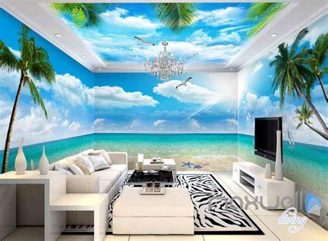 beach view starfish palm tree entire room wallpaper