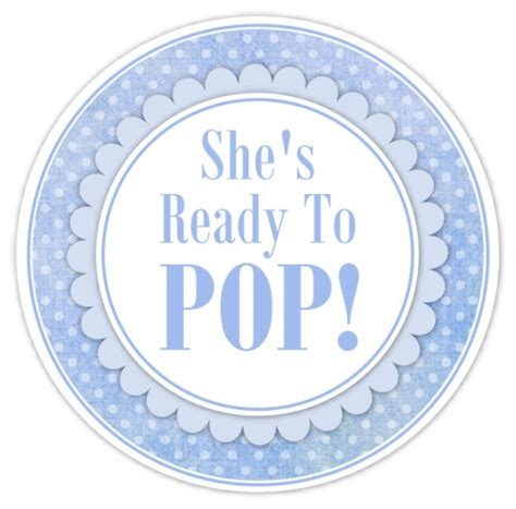 baby shower ready to pop labels blue polka by delightdesignbiz