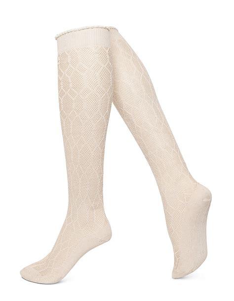 patterned trouser socks hue diamond patterned over the knee trouser socks in white