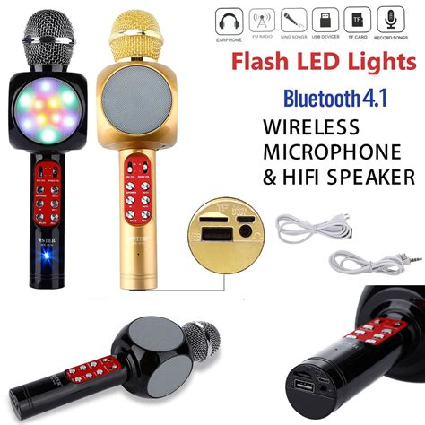 Speaker Mic Bluetooth Fleco Ws 1816 Speakar Mic Bluetooth Wster led wireless bluetooth karaoke microphone speaker handheld