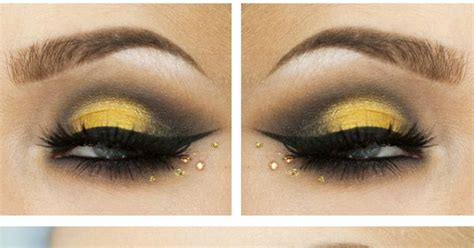 Valege Eye Shadow Brown Yellow yellow and brown smokey black winged eye shadow accented with topaz crystals titled quot yellow