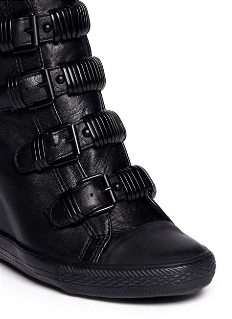 black leather wedge sneakers lyst ash ultra leather wedge sneakers in black