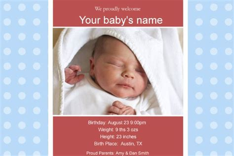 free birth announcements templates free photo templates baby birth announcement 2