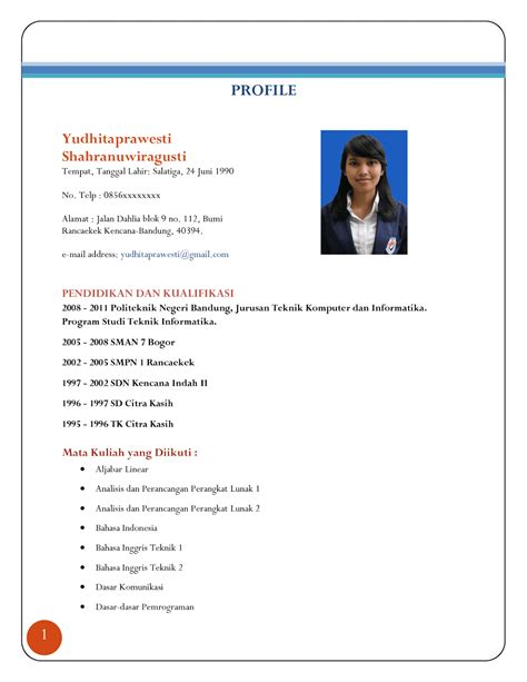 format cv indonesia word contoh curriculum vitae indonesia ben jobs
