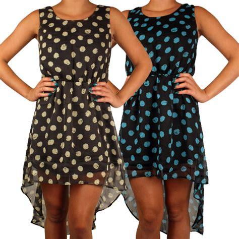 kleid gepunktet damen kleid gepunktet asymmetrischer saum 196 rmellos