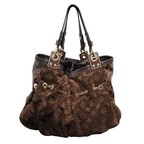 L V Irene Pouch louis vuitton irene espresso suede patent leather limited edition large handbag at 1stdibs