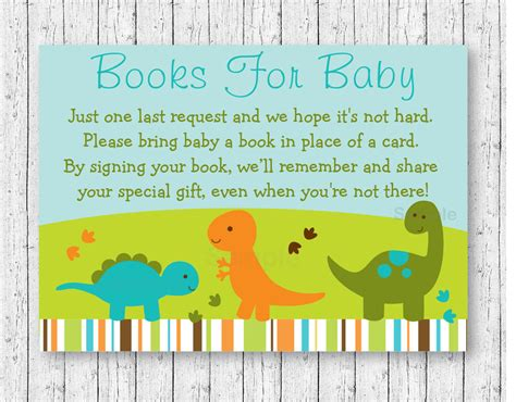 request for baby shower baby dinosaurs printable baby shower book request cards ebay