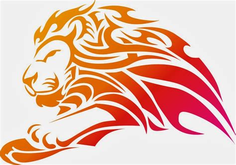 kepala singa tribal vector  designer