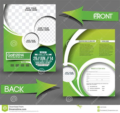 golf tournament program template golf tournament flyer stock vector image 42575235