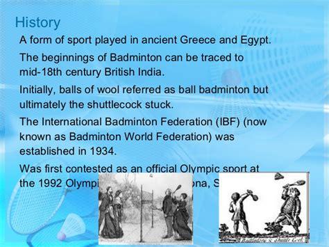brief history of badminton badminton
