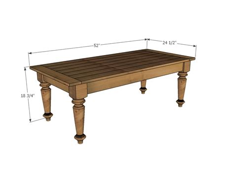 coffee table size ana white turned leg coffee table diy projects