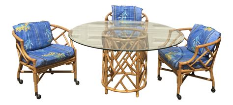 Chinoiserie Table Rolling Bamboo Chairs Chairish Dining Table With Rolling Chairs