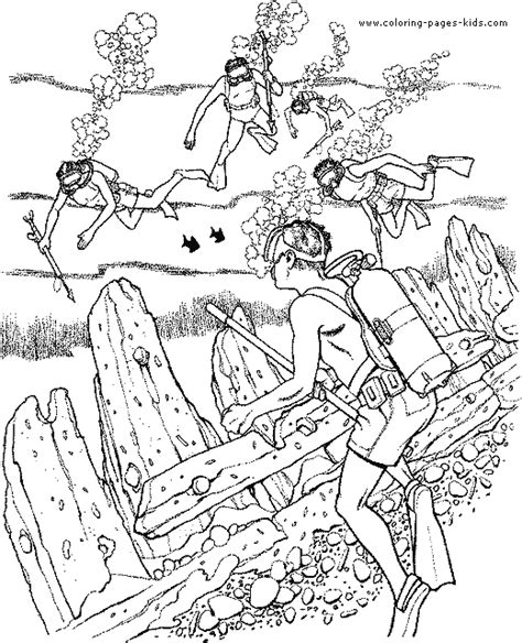 free coloring pages of a scuba diver
