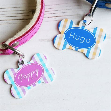 Goin Gingham Pet Pet Pet Product 4 by Personalised Gingham Pet Tag Bone Shaped By We To