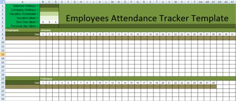 Stunning Employee Attendance Tracker Sheet Exle With Huge Title And Green Color Accent In Employee Absence Schedule Template