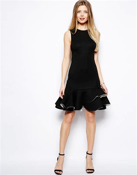 Hem Ruffle Black Asos Ruffle Hem Mini Dress In Black Lyst