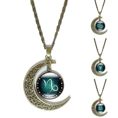 cabochon jewelry 12 constellation glass cabochon pendant necklace vintage