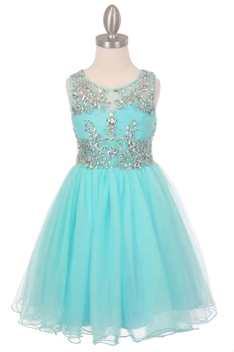 ccaq girls dress style  aqua sleeveless
