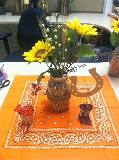 western centerpiece for office retirement party mason