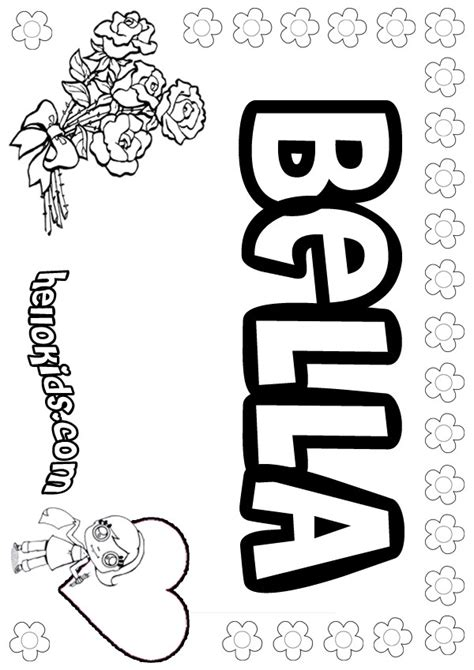 girls name coloring pages bella girly name to color