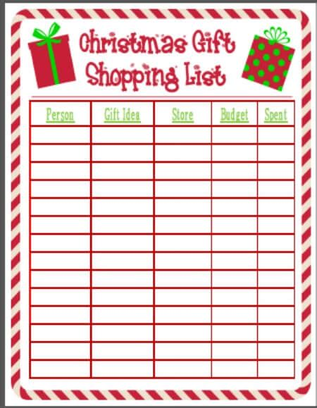 printable christmas shopping list easy gift wrap organization christmas organization