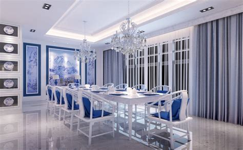 Blue And White Dining Room by 3d Blue And White Mediterranean Style Dining Room 3d