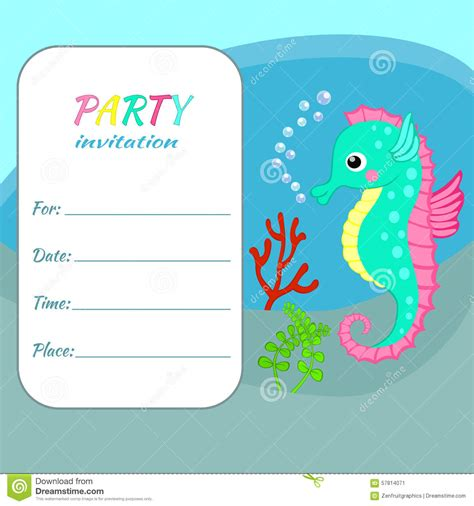 Children Birthday Party Invitation Card Template Colorful Seahorse Stock Vector Illustration Card Templates For Children