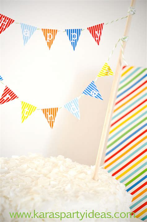 free printable happy birthday banner for cake kara s party ideas free mini cake pennant bunting for