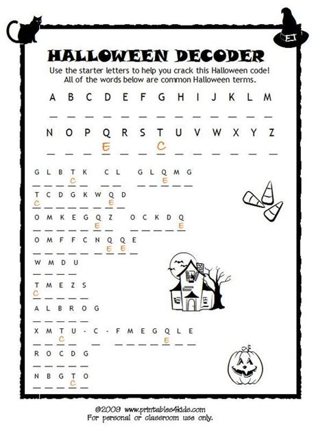 halloween coloring pages word searches halloween code breaker cryptoquiz brain teaser