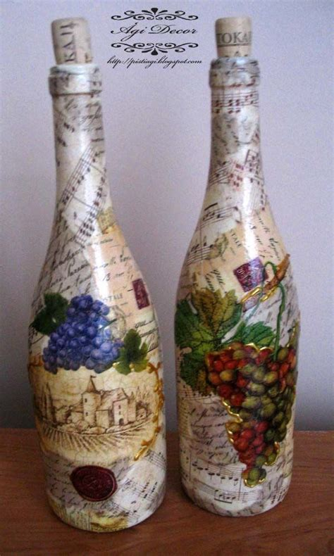 Decoupage Wine Bottles - decoupage wine bottles wine bottles pintura decorativa