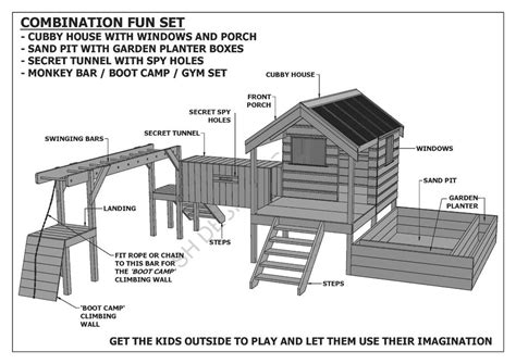 kids cubby house plans cubby play house sand pit tunnel play gym combo building plans v1 ebay