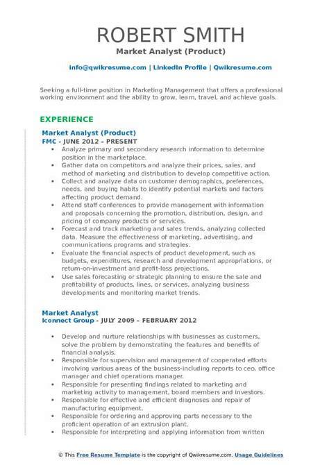 Marketing Analyst Resume by Market Analyst Resume Sles Qwikresume