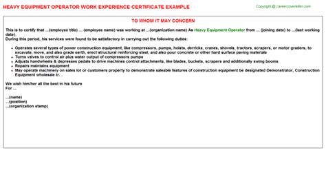 certification letter for equipment heavy equipment operator work experience certificate
