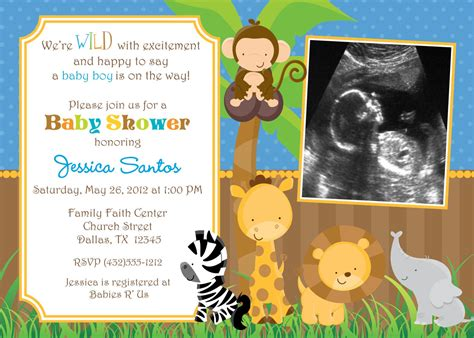 safari jungle animals baby shower invitation by jcbabycakes