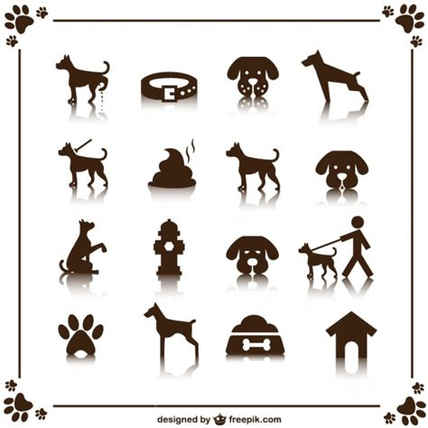 retro style pet icons set vector free download dog icons set vector free download
