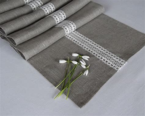 linen table runner with lace gray table runner organic
