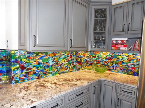 colorful abstract kitchen backsplash designer glass