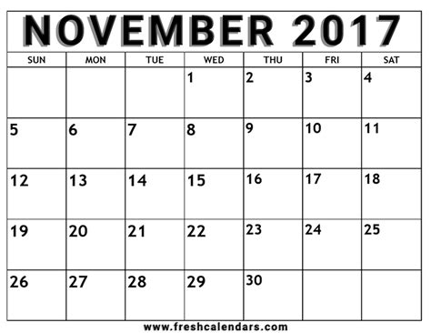 printable weekly calendar for november 2017 november 2017 printable calendar templates