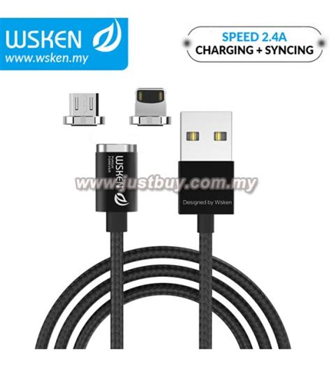 Wsken Lightning Metal For Wsken X Cable Magnetic Mini 1 Mini 2 buy wsken micro usb lightning 2 4a mini2 magnetic x cable black malaysia