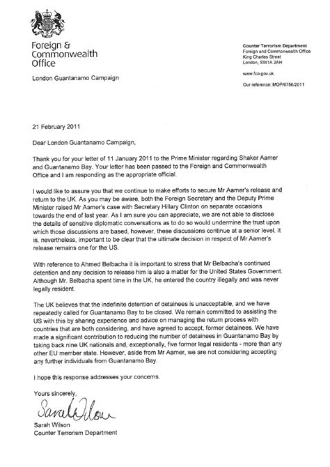 Letter Service Uk Foreign Office Responds To Letter On Guant 225 Namo Bay Uk Indymedia