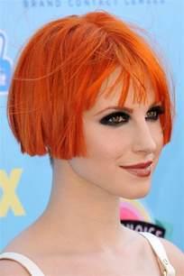 Williams Hairstyles Hayley Williams Orange Bob Choppy Bangs