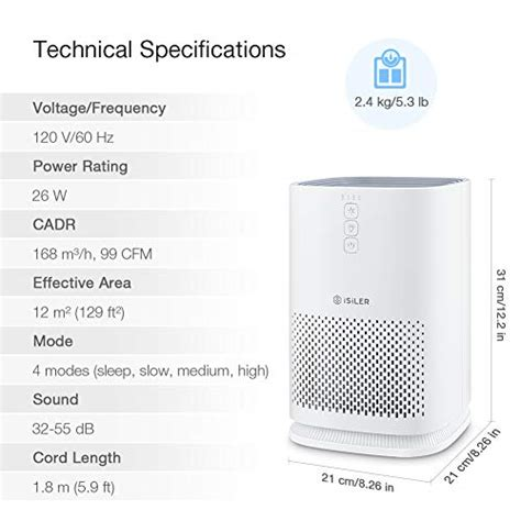 isiler air purifier  accurate hepa filter portable air cleaner   speeds  dust