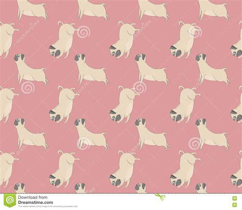 yoga pattern vector pugs meditation yoga pattern cute dogs stock vector