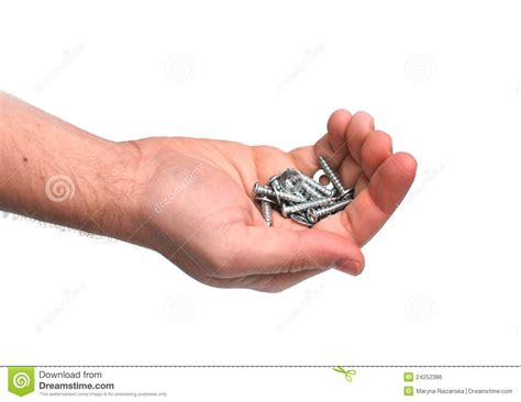 Holding The Nuts holding bolts and nuts royalty free stock image
