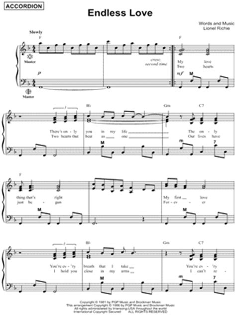 endless love by l richie sheet music on musicaneo lionel richie quot endless love quot sheet music download print