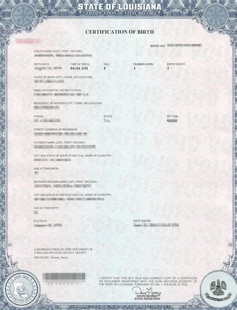 Vital Records Louisiana Birth Certificate State Of Louisiana Apostille Apostille Service