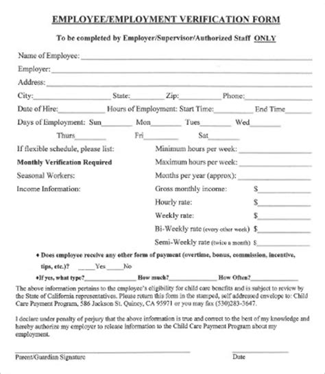 Verification Of Employment Template Business Employment Verification Form Template
