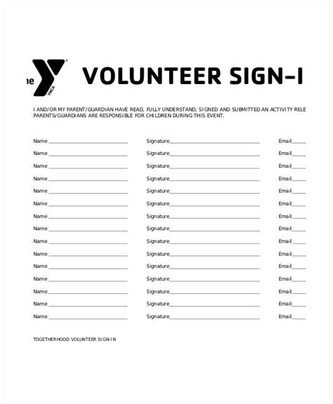 volunteer sign in sheet templates 14 free pdf documents