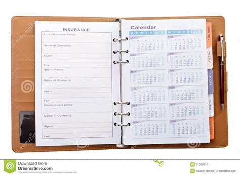 Calendar Notebook Calendar In Notebook With Pen Stock Photo Image 31068910